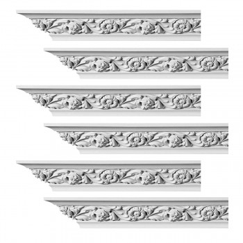 Renovators Supply Ornate Cornice White Urethane Ainsley Design 6 Pieces Totaling 564 Length White PrePrimed Urethane Crown Cornice Molding Cornice Crown Home Depot Ekena Millwork Molding Wall Ceiling Corner Cornice Crown Cove Molding
