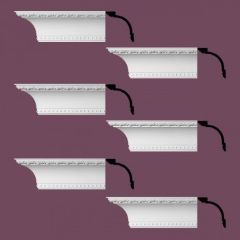 Renovators Supply Ornate Cornice White Urethane Ashlyn Design 6 Pieces Totaling 564 Length White PrePrimed Urethane Crown Cornice Molding Cornice Crown Home Depot Ekena Millwork Molding Wall Ceiling Corner Cornice Crown Cove Molding