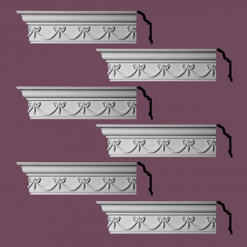 Renovators Supply Ornate Cornice White Urethane Hastings On Hudson  6 Pieces Totaling 576 Length White PrePrimed Urethane Crown Cornice Molding Cornice Crown Home Depot Ekena Millwork Molding Wall Ceiling Corner Cornice Crown Cove Molding