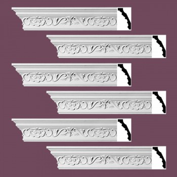 "spec-<PRE> Ornate Cornice White Urethane Amaryllis Design 6 Pieces Totaling 564"" Length</PRE>"