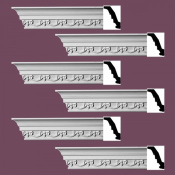 <PRE>Renovator's Supply Ornate Cornice White Urethane Cheshire Design 6 Pieces Totaling 564inch Length</PRE>zoom2