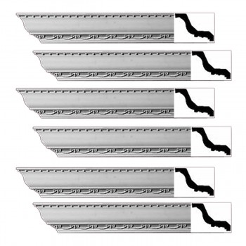 Renovators Supply Ornate Cornice White Urethane Tyringham Design 6 Pieces Totaling 564 Length White PrePrimed Urethane Crown Cornice Molding Cornice Crown Home Depot Ekena Millwork Molding Wall Ceiling Corner Cornice Crown Cove Molding