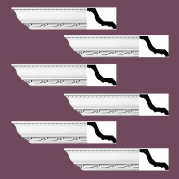 "spec-<PRE> Ornate Cornice White Urethane Williamstown Design 6 Pieces Totaling 564"" Length</PRE>"