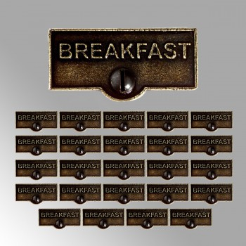<PRE>25 Switch Plate Tags BREAKFAST Name Signs Labels Cast Brass </PRE>zoom2