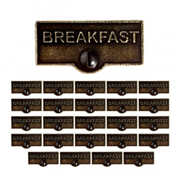 <PRE>25 Switch Plate Tags BREAKFAST Name Signs Labels Cast Brass </PRE>zoom1