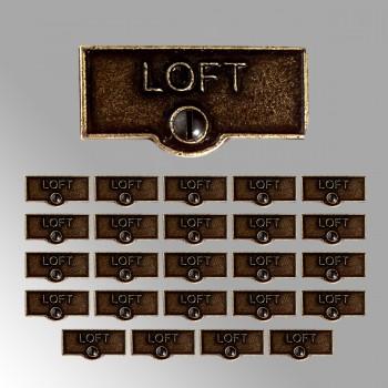 <PRE>25 Switch Plate Tags LOFT Name Signs Labels Cast Brass </PRE>zoom2