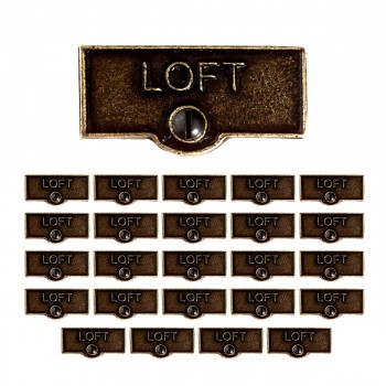 <PRE>25 Switch Plate Tags LOFT Name Signs Labels Cast Brass </PRE>zoom1