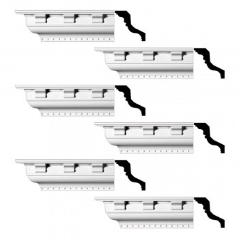 <PRE>Renovator's Supply Ornate Cornice White Urethane Chesterfield Design 6 Pieces Totaling 570inch Length</PRE>zoom1