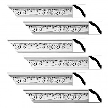 Renovators Supply Ornate Cornice White Urethane Huntington Design 6 Pieces Totaling 564 Length White PrePrimed Urethane Crown Cornice Molding Cornice Crown Home Depot Ekena Millwork Molding Wall Ceiling Corner Cornice Crown Cove Molding