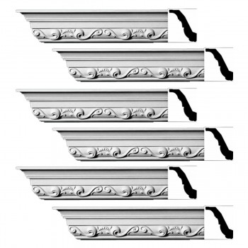 Renovators Supply Ornate Cornice White Urethane Williamsburg Design 6 Pieces Totaling 564 Length White PrePrimed Urethane Crown Cornice Molding Cornice Crown Home Depot Ekena Millwork Molding Wall Ceiling Corner Cornice Crown Cove Molding