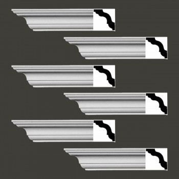 <PRE>Renovator's Supply Cornice White Urethane Merrimac Simple Design 6 Pieces Totaling 564inch Length</PRE>zoom2