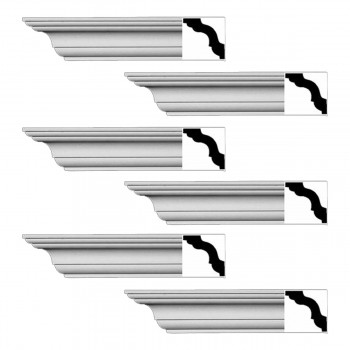 <PRE>Renovator's Supply Cornice White Urethane Merrimac Simple Design 6 Pieces Totaling 564inch Length</PRE>zoom1