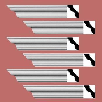 Renovators Supply Cornice White Urethane Oak Bluffs Simple Design 6 Pieces Totaling 576 Length White PrePrimed Urethane Crown Cornice Molding Cornice Crown Home Depot Ekena Millwork Molding Wall Ceiling Corner Cornice Crown Cove Molding