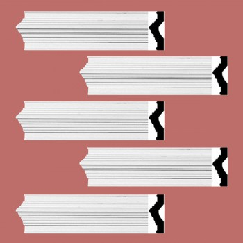spec-<PRE>Renovator's Supply Crown Molding White Urethane Abbot Simple Design 5 Pieces Totaling 470&quot; Length</PRE>