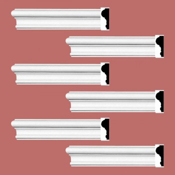 "spec-<PRE>Renovator's Supply Cornice White Urethane Simple Design 6 Pieces Totaling 576"" Length</PRE>"