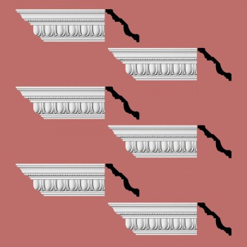 "spec-<PRE>Renovator's Supply  Ornate Cornice White Urethane Design 6 Pieces Totaling 576"" Length</PRE>"