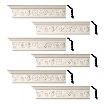 Renovators Supply Cornice White Urethane Colman Ornate Design 6 Pieces Totaling 576 Length White PrePrimed Urethane Crown Cornice Molding Cornice Crown Home Depot Ekena Millwork Molding Wall Ceiling Corner Cornice Crown Cove Molding