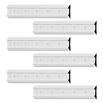 Renovators Supply Crown Molding White Urethane Westchester Ornate  6 Pieces Totaling 576 Length White PrePrimed Urethane Crown Cornice Molding Cornice Crown Home Depot Ekena Millwork Molding Wall Ceiling Corner Cornice Crown Cove Molding