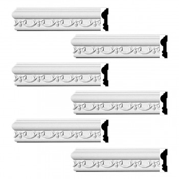 Renovators Supply Crown Molding White Urethane Kenton Ornate Design 6 Pieces Totaling 564 Length White PrePrimed Urethane Crown Cornice Molding Cornice Crown Home Depot Ekena Millwork Molding Wall Ceiling Corner Cornice Crown Cove Molding