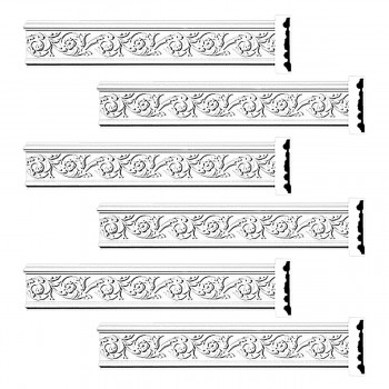 Renovators Supply Crown Molding White Urethane Radcliff Ornate Design 6 Pieces Totaling 564 Length White PrePrimed Urethane Crown Cornice Molding Cornice Crown Home Depot Ekena Millwork Molding Wall Ceiling Corner Cornice Crown Cove Molding