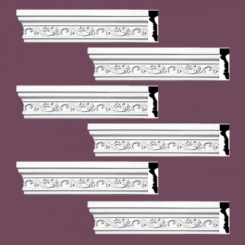 <PRE>Renovator's Supply Crown Molding White Urethane Savanah Design 6 Pieces Totaling 564inch Length</PRE>zoom2