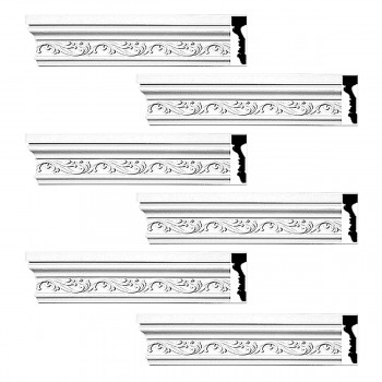 <PRE>Renovator's Supply Crown Molding White Urethane Savanah Design 6 Pieces Totaling 564inch Length</PRE>zoom1