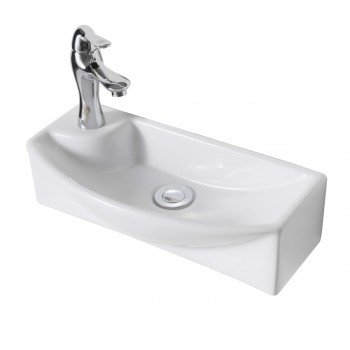 Wall Mount White Vitreous China Small Square Sink w/ Left Faucet Hole61667grid