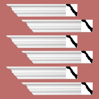 Renovators Supply Cornice White Urethane Holly Springs Simple Design 6 Pieces Totaling 564 Length White PrePrimed Urethane Crown Cornice Molding Cornice Crown Home Depot Ekena Millwork Molding Wall Ceiling Corner Cornice Crown Cove Molding