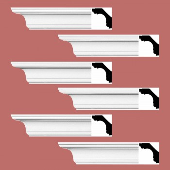 Renovators Supply Cornice White Urethane New Britain Simple Design 6 Pieces Totaling 564 Length White PrePrimed Urethane Crown Cornice Molding Cornice Crown Home Depot Ekena Millwork Molding Wall Ceiling Corner Cornice Crown Cove Molding