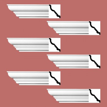<PRE>Renovator's Supply Cornice White Urethane Bennington Simple Design 6 Pieces Totaling 564inch Length</PRE>zoom2