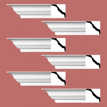 <PRE>Renovator's Supply Cornice White Urethane Princess Anne Simple Design 6 Pieces Totaling 564inch Length</PRE>zoom2