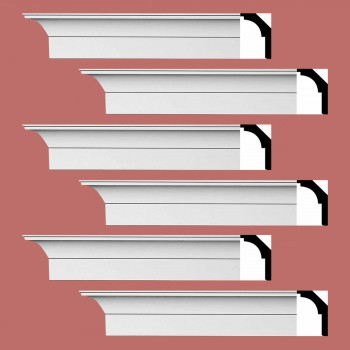 Renovators Supply Cornice White Urethane Waldorf Simple Design 6 Pieces Totaling 564 Length White PrePrimed Urethane Crown Cornice Molding Cornice Crown Home Depot Ekena Millwork Molding Wall Ceiling Corner Cornice Crown Cove Molding