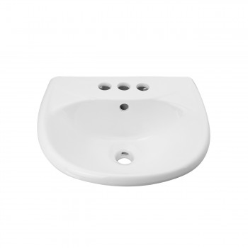 Small Wall Mount Sink White Vitreous China with Centerset Faucet Holes 61863grid