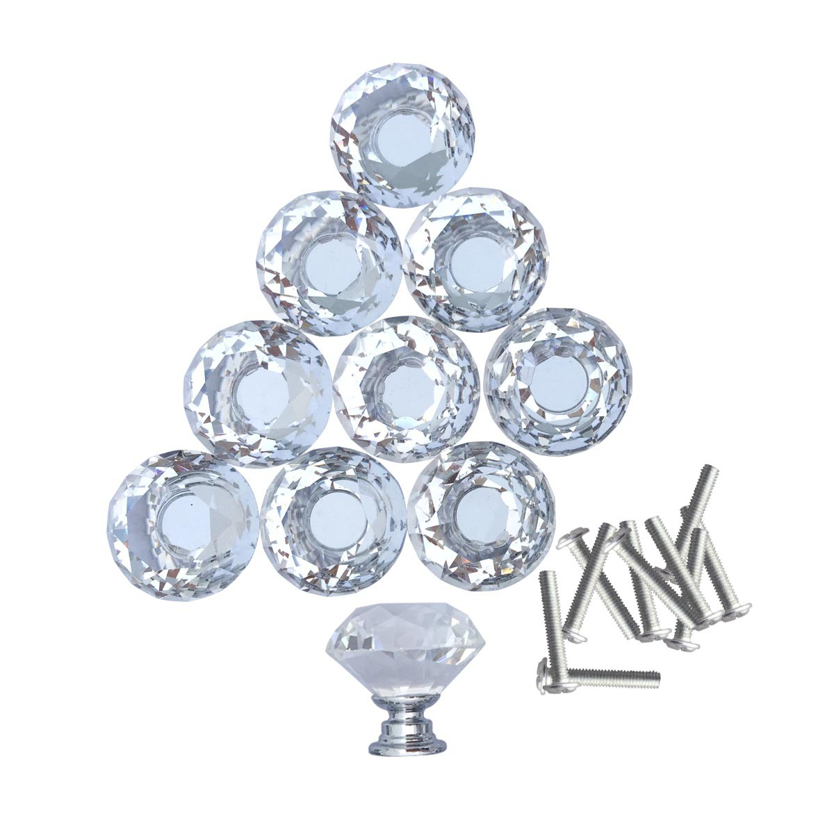 Clear Glass Cabinet Knobs 1.8 Inch Projection Mushroom 60 pcs Cabinet Hardware Cabinet Knobs Cabinet Knob