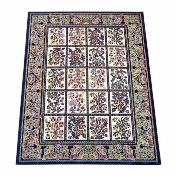 Rectangular Area Rug 4ft 7in x  3ft 3in Blue Silk Blend 62007grid