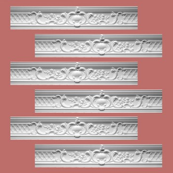 Renovators Supply Ornate Cornice White Urethane Fern Design 6 Pieces Totaling 478.5 Length White PrePrimed Urethane Crown Cornice Molding Cornice Crown Home Depot Ekena Millwork Molding Wall Ceiling Corner Cornice Crown Cove Molding