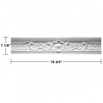 "spec-<PRE> Ornate Cornice White Urethane Fern Design 6 Pieces Totaling 478.5"" Length</PRE>"