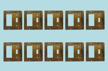 <PRE>10 Victorian Switch Plate Toggle GFI Antique Solid Brass </PRE>zoom2