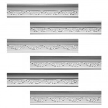 Renovators Supply Cornice White Urethane Whitehead Ornate Design 6 Pieces Totaling 576.75 Length White PrePrimed Urethane Crown Cornice Molding Cornice Crown Home Depot Ekena Millwork Molding Wall Ceiling Corner Cornice Crown Cove Molding