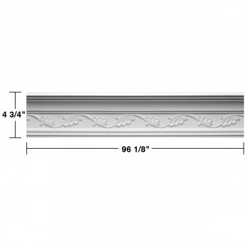 "spec-<PRE> Cornice White Urethane Whitehead Ornate Design 6 Pieces Totaling 576.75"" Length</PRE>"