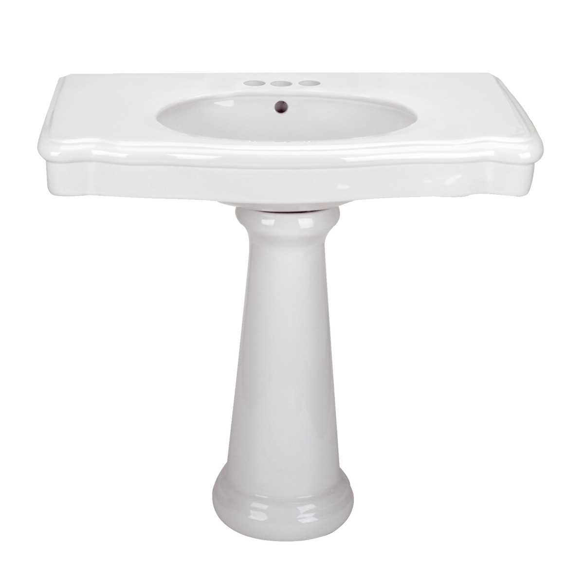Renovators Supply White Darbyshire Pedestal Sink with 4 Faucet, Drain and PTrap Rectangle Pedestal Sink Modern Bathroom Pedestal Sink Classic Bathroom Sinks