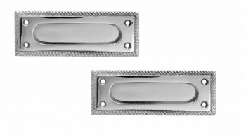 2 Georgian Rope Solid Brass Sash Lift Chrome Rectangular 5 Window Pulls Window Lifts Sash Lift