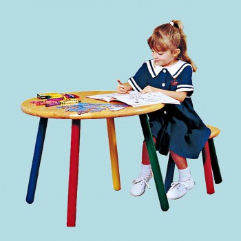 Childrens Hardwood Table and Stool Colorful Painted Legs Child Table Childrens Table Child Tables