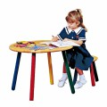 Children's Hardwood Table and Stool Colorful Painted Legs
