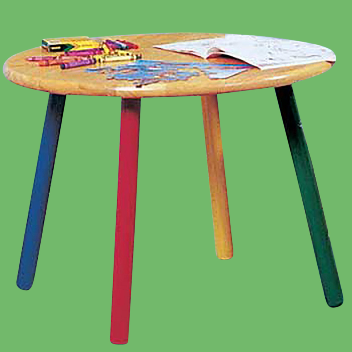 Children 39 s table hardwood round table colorful painted legs for Colorful dining table