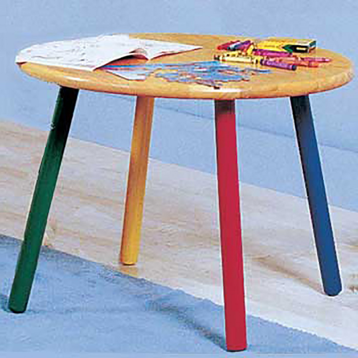 Children 39 S Table Hardwood Round Table Colorful Painted Legs