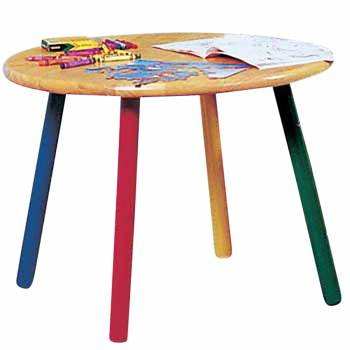 Children's Table Hardwood Round Table Colorful Painted Legs 636471grid