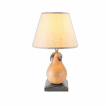 Table Lamp Wood Pear Parchment Shade