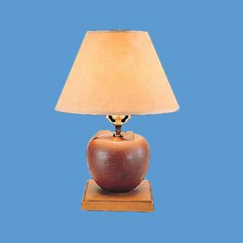 Table Lights - Table Lamp Red Wood Apple Parchment Shade by the Renovator's Supply