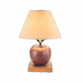 Table Lamp Red Wood Apple Parchment Shade